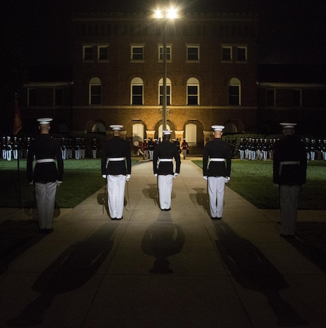 Marines of Marine Barracks Washington, D.C., perform during the Noncommissioned Officer's Parade, Aug. 19, 2016. The guest of honor for the parade was Adm. John M. Richardson, chief of Naval Operations and the hosting official was Gen. Robert B. Neller, commandant of the Marine Corps. (Official Marine Corps photo by Lance Cpl. Robert Knapp/Released)