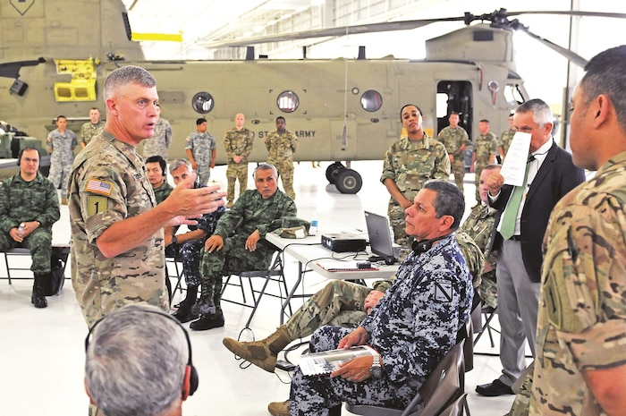 "Maj. Gen. Wayne W. Grigsby Jr., commanding general of the 1st Infantry Division and Fort Riley, provides an overview of 1st Combat Aviation Brigade, 1st Inf. Div., capabilities to the Fifth Army Inter-American Relations Program delegation July 21 at Fort Riley. ""FIARP is an annual Headquarters, Department of the Army-funded weeklong program established after World War II. The goal of the program is to enhance Army-to-army relations, increase interoperability and exchange ideas."