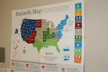 Map of the United States indicating potential natural disasters each area could face. Viriginia is susceptible to hurricanes, as well as universal disasters such as house fires, thunderstorms, and floods.