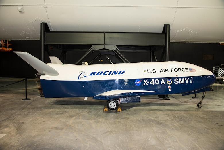 DAYTON, Ohio -- Boeing X-40A in the Space Gallery at the National Museum of the United States Air Force. (U.S. Air Force photo by Ken LaRock)
