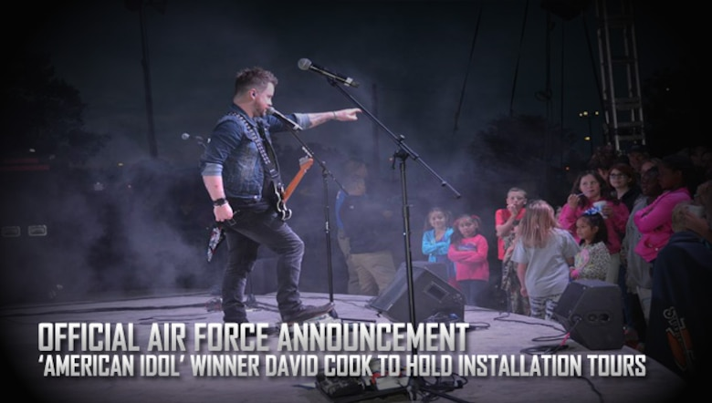 David Cook performs May 14 at Wings of Freedom Park at Altus AFB, Oklahoma. Cook visited Altus as part of his concert tour to raise the morale of the men and women who serve here. (Courtesy Photo)