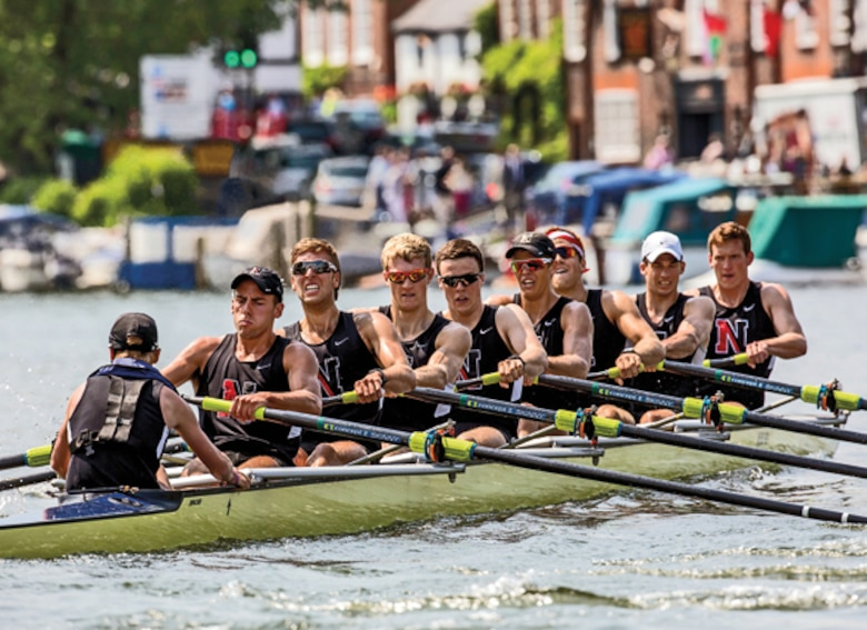 Second Lieutenant Trevor Weaser (third from the left), rows at a 2014 competition at Northeastern University in Boston, Mass. Weaser was commissioned a Marine Corps officer August 7th, 2016.  (Courtesy photo by 2nd Lt. Trevor Weaser)