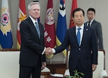Secretary of the Navy (SECNAV) Ray Mabus meets with Korea Minister of Defense Han Min-koo in Seoul, Aug. 19, 2016. Mabus is in the region to meet with Sailors and Marines, and civilian and military officials, as part of a multi-nation visit to the U.S. Pacific region.