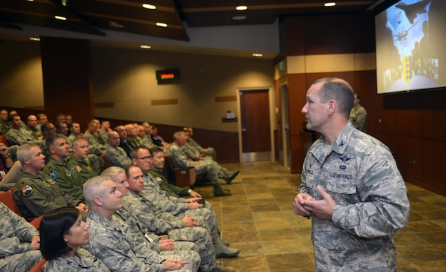 Col. Gentry Boswell, 28th Bomb Wing commander, provides opening remarks to inspection team members at the unit mission briefing at Ellsworth Air Force Base, S.D., Aug. 21, 2016. During a Unit Effectiveness Inspection, inspectors validate and verify a wing commander's Inspection Program for accuracy, adequacy and relevance, and provide an independent assessment of the Wing's ability to execute the mission. (U.S. Air Force photo by Airman 1st Class Donald C. Knechtel/Released)