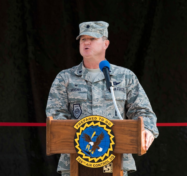 Lt. Col. Sean Higgins, commander of the 726th Air Control Squadron, speaks at the ribbon cutting ceremony August 18, 2016, at Mountain Home Air Force Base, Idaho. The renovations took approximately seven months and provided the 726 ACS with new equipment and more space to train with. (U.S. Air Force photo by Airman Alaysia Berry/Released)