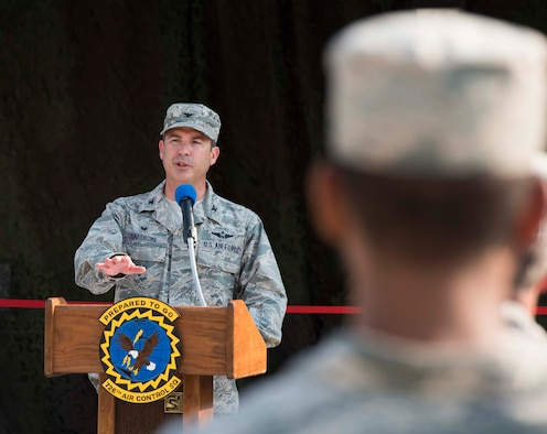 Col. David Gaedecke, commander of the 552nd Air Control Wing, speaks to the audience at the ribbon cutting ceremony August 18, 2016, at Mountain Home Air Force Base, Idaho. The 726th Air Control Squadron works with the 366th Fighter Wing but is a part of the 552nd ACW at Tinker Air Force Base, Oklahoma. (U.S. Air Force photo by Airman Alaysia Berry/Released)