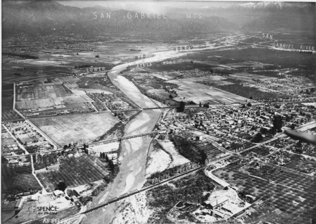 Aerial view of Whittier Narrows Basin and Watershed, 1935