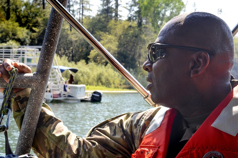 U.S. Army Corps of Engineers Command Sgt. Maj. Antonio S. Jones views recreational areas at Englebright Lake in the Sierra Nevada on Aug. 16, 2016. Jones visited Sacramento District projects at Englebright Lake as well as Black Butte Lake and the Folsom Dam auxiliary spillway project.