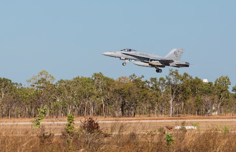 An F/A- 18C Hornet with Marine Fighter Attack Squadron (VMFA) 122, takes off at Royal Ausatralian Air Force Base Tindal, Australia, during Exercise Southern Frontier, July, 26, 2016. Southern Frontier will help the squadron gain experience and qualifications in low altitude, air ground, high explosive ordnance delivery at the unit level. VMFA-122  is homebased at Marine Corps Air Station Beaufort, S.C., and forward deployed to MCAS Iwakuni, Japan, for a six month deployment with the unit deployment program. (U.S. Marine Corps photo by Cpl. Nicole Zurbrugg)