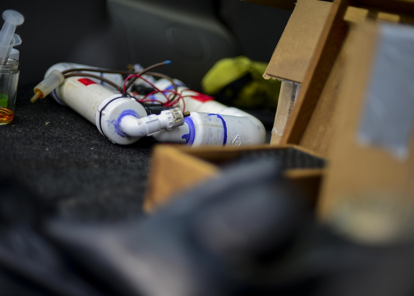 A simulated improvised explosive device sits in the back of a vehicle at Osan Air Base, Republic of Korea, Aug. 23, 2016. The 51st Civil Engineer Squadron explosive ordnance explosive team was called out to inspect the suspicious device, kicking off the first event in Exercise Beverly Herd 16-2. (U.S. Air Force photo by Senior Airman Victor J. Caputo)