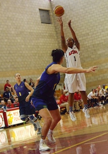 Danielle Deberry takes a jump shot from top of the key during the final game of the CISM Military Women's World Basketball Championship, July 29, 2016, at Camp Pendleton, Calif. Brazil won 61-60.