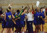Members of the Brazil Armed Forces women's basketball team celebrate after beating Team USA 61-60 and winning gold in the CISM Military World Women's Basketball Championship, July 29, 2016 at Camp Pendleton, Calif.