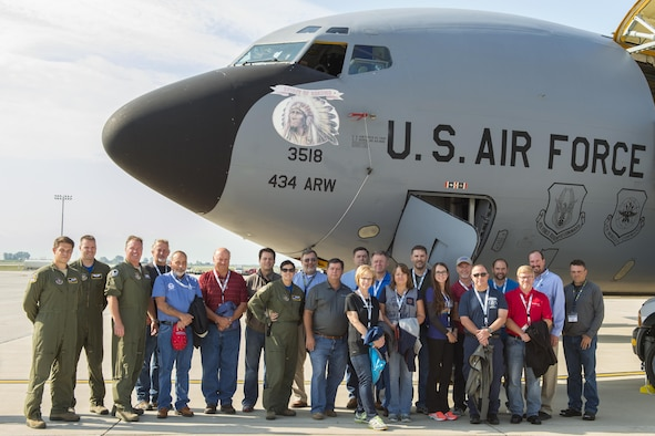 A group of employers pose for a photo in front of a KC-135R Stratotanker from the Air Force Reserve's 434th Air Refueling Wing at Grissom Air Reserve Base, Ind., before taking off on a refueling mission Aug. 19, 2016. Indiana's three wings partnered together to fly 46 employers of guardsmen and reservists on a Bosslift aimed at educating them about their employees' military service and responsibilities. (U.S. Air Force photo/Tech. Sgt. Benjamin Mota)