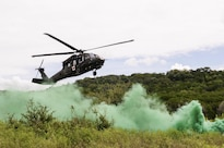 A medevac helicopter lands under green smoke marking a landing zone for a medical station during an exportable combat training exercise at Fort Hood, Texas, Aug. 18, 2016. The exercise provides an experience similar to a combat training tenter for guardsmen, but uses a home or regional station to minimize cost and time away from home and jobs. The soldiers at the medical station are assigned to Company C, 1st Battalion, 156th Engineer Battalion. Army photo by Sgt. 1st Class Thomas Wheeler