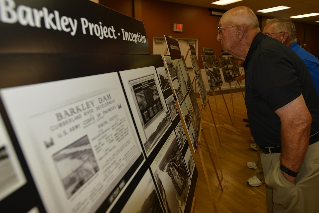 Displays at the Grand Rivers, Ky., Community Center marked the history of Barkley Dam at the reception following the commemoration marking the 50th anniversary of Barkley Dam Aug. 20, 2016.