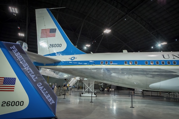 DAYTON, Ohio -- Boeing VC-137C SAM 26000 (Air Force One) in the Presidential Gallery at the National Museum of the United States Air Force. (U.S. Air Force photo by Jim Copes)
