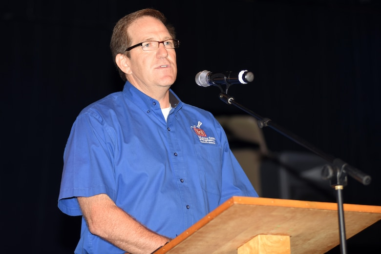 Mike Looney, U.S. Army Corps of Engineers Nashville District's resource manager at Lake Barkley, gives a brief overview of the history of Barkley Dam during the commemoration for the 50th anniversary of Barkley Dam at the Badgett Playhouse Theater in Grand Rivers, Ky., Aug. 20, 2016.