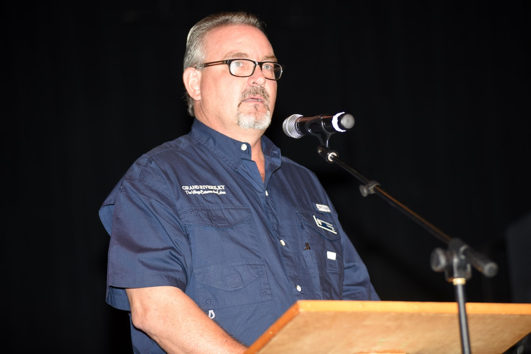 Mayor Tom Moodie of Grand Rivers, Ky., said he didn't grow up during the creation of Barkley Dam and the lake, but is grateful that he enjoyed reaping the benefits during a commemoration marking the 50th anniversary of Barkley Dam at the Badgett Playhouse Theater in Grand Rivers, Ky., Aug. 20, 2016.