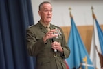 Marine Corps Gen. Joe Dunford, chairman of the Joint Chiefs of Staff, addresses National Defense University students at Fort McNair in Washington, D.C., Aug. 23, 2016. The university offers military education to leaders of the U.S. armed forces and others. DoD photo by Navy Petty Officer 2nd Class Dominique A. Pineiro