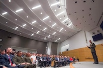 Marine Corps Gen. Joe Dunford, chairman of the Joint Chiefs of Staff, addresses National Defense University students at Fort McNair in Washington, D.C., Aug. 23, 2016. The university provides military education to leaders of the U.S. armed forces and select others, preparing them to think and operate effectively in an international security environment. DoD photo by Navy Petty Officer 2nd Class Dominique A. Pineiro