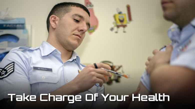 Staff Sgt. Derrick Reynolds, a 71st Medical Operations Squadron technician, vaccinates an Airman at the immunizations section of the clinic at Vance Air Force Base, Okla., Jan. 4. (Photo by David Poe, Graphic illustration by Steve Thompson)