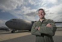 Capt. J.R. Wendell, a C-17 Globemaster III pilot, stands in front of a C-17 on the flightline at Joint Base Charleston, S.C., Aug. 3, 2016. Wendell both flew in and helped plan Swift Response 2016, a 10-nation training exercise that led to six C-17s airdropping hundreds of 82nd Airborne Division paratroopers overseas. (U.S. Air Force photo/Master Sgt. Brian Ferguson)