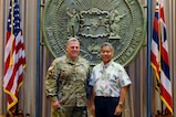 United States Army Chief of Staff Gen. Mark Miley (left) met with Hawaii Governor David Ige August 22, 2016, at the Hawaii State Capitol. During their meeting in the governor's chamber, the two leaders discussed the Total Army (Active, Guard, Reserves) in the Pacific, and the continuing state support shown to the Army in Hawaii. Miley is in Hawaii visiting installations, meeting with Soldiers and getting briefed on continuing Army efforts in the Asia Pacific region. Hawaii is the last stop of the general's Asia Pacific tour with stops in Japan, South Korea, and China where he explored opportunities to deepen cooperation with the People's Liberation Army.