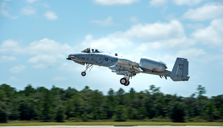 An A-10C Thunderbolt II takes off, Aug. 19, 2016, at Avon Park Air Force Range, Fla. The A-10C has a wide combat radius, austere field capability and accurate weapons delivery which have all proven to be vital assets during operations Enduring Freedom and Inherent Resolve. (U.S. Air Force photo by Airman 1st Class Janiqua P. Robinson)