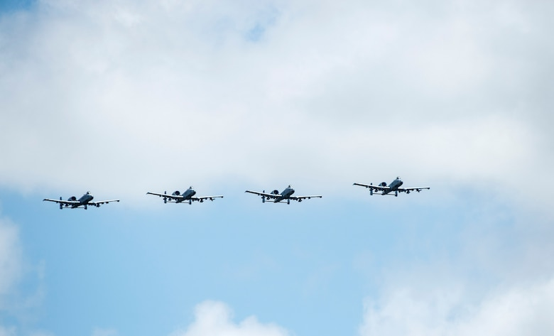 A formation of A-10C Thunderbolt IIs soar through the skies, Aug. 19, 2016, at Avon Park Air Force Range, Fla. The A-10C houses a GAU-8 cannon which is capable of firing 3,000 rounds per minute and can be used to defeat targets such as armored as tanks. (U.S. Air Force photo by Staff Sgt. Brian Valencia)