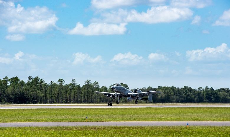 An A-10C Thunderbolt II takes off, Aug. 19, 2016, at Avon Park Air Force Range, Fla. New operating guidelines that were activated June 18, and this is only the fourth time A-10C's have flown in and out of the range under the guidelines. The new guidelines allow pilots to use visual flight rules when approaching, landing and taking off instead of being instructed and directed by tower personnel. (U.S. Air Force photo by Airman 1st Class Janiqua P. Robinson)