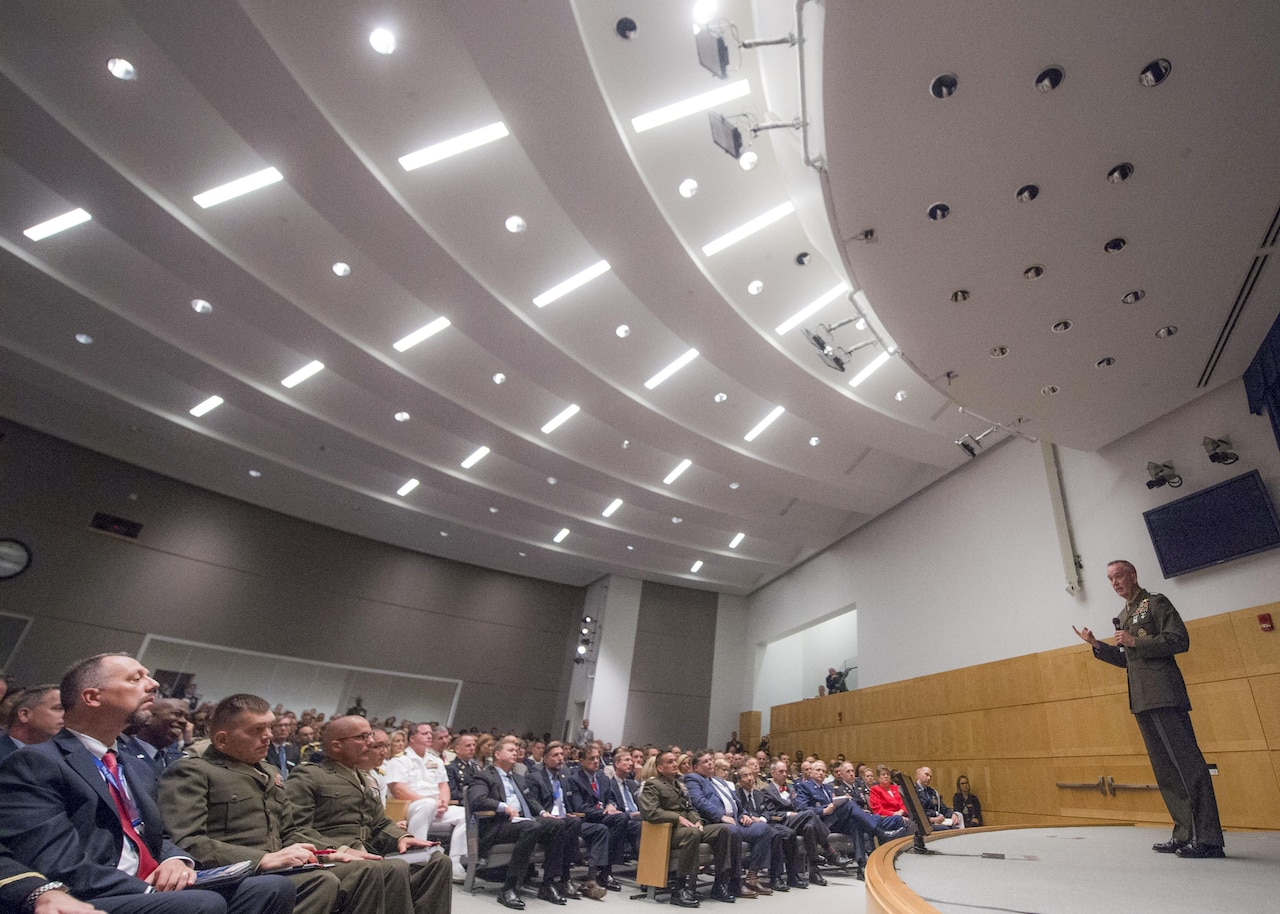 Marine Corps Gen. Joe Dunford, chairman of the Joint Chiefs of Staff, addresses National Defense University students at Fort Lesley J. McNair, Washington, D.C., Aug. 23, 2016 NDU provides joint professional military education to prepare leaders to think and operate effectively at the highest international security levels. DoD photo by Navy Petty Officer 2nd Class Dominique A. Pineiro