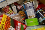 Food donations fill a box at the charity fair for the Feds Feed Families initiative at the Pentagon, Aug. 23, 2016. DoD photo by Lisa Ferdinando