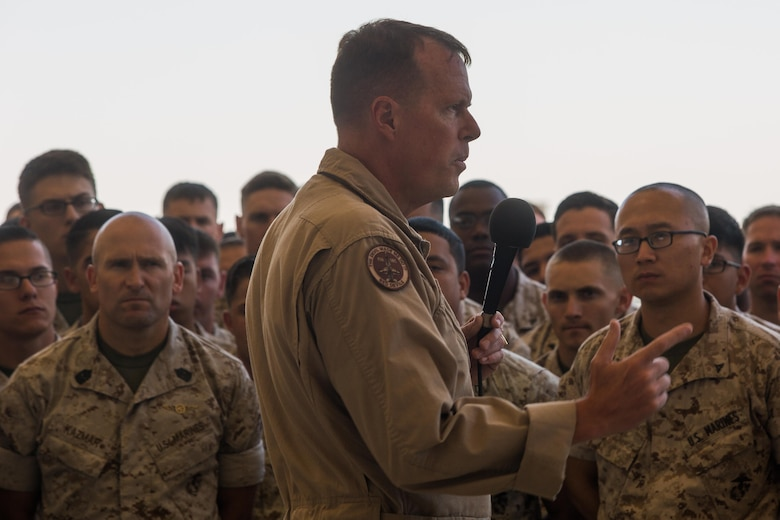 """Maj. Gen. Mark Wise, 3rd Marine Aircraft Wing commanding general, speaks to Marines with Marine Aircraft Group 11 during a one-day """"reset"""" aboard Marine Corps Air Station Miramar, Calif., Aug. 9. During the reset, units across 3rd MAW suspended nearly all air field and shop operations to develop plans and improve their section's operational readiness. (U.S. Marine Corps photo by Sgt. Lillian Stephens/Released)"""