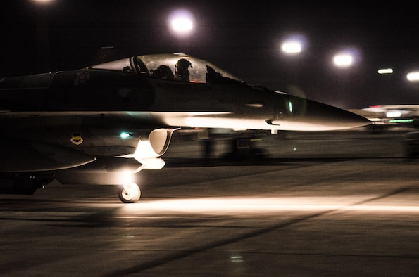 An F-16CM Fighting Falcon from the 55th Fighter Squadron, Shaw Air Force Base, S.C., taxis in preparation for a night sortie at Nellis AFB, Nev., Aug. 17, 2016. Red Flag 16-4 conducted night missions for pilots to experience training in a low-visibility environment. (U. S. Air Force photo by Tech. Sgt. Frank Miller)