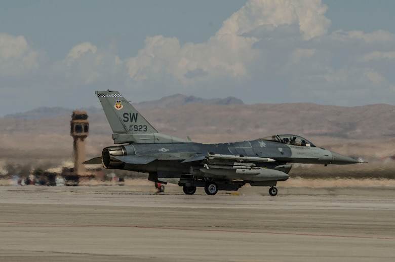 An F‐16CM Fighting Falcon assigned to the 55th Fighter Squadron, Shaw Air Force Base, S.C., taxis at Nellis Air Force Base, Nev., Aug. 13, 2016. The F-16 was primarily used in suppression of enemy air defense operations during Red Flag 16-4. (U. S. Air Force photo by Tech. Sgt. Frank Miller)