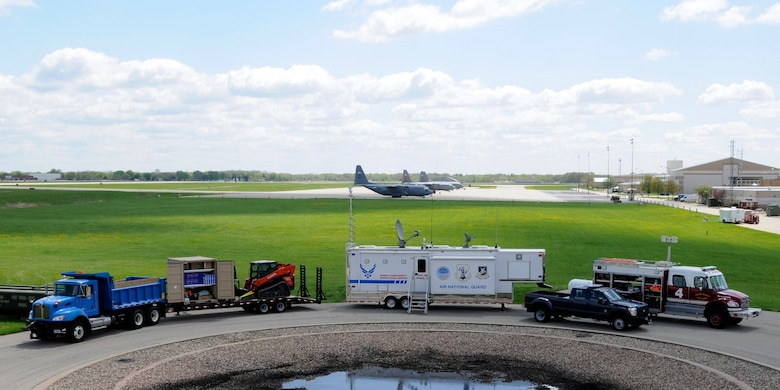 Vehicles used in responding to Domestic Operations (DOMOPS) events are displayed at the 182nd Airlift Wing in Peoria, Ill. on  April 30, 2015. The display was part of America's PrepareAthon!, a grassroots campaign for action to increase community preparedness and resilience. (U.S. Air National Guard photo by Tech. Sgt. Todd Pendleton)