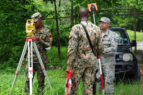 Tech. Sgt. Gursimran Shergill, 113th Civil Engineer Squadron engineer, works with members from the Jamaica Defence Force 1 Engineer Regiment in Montego Bay, Jamaica Aug. 4. The team used survey equipment to map the area around a building the JDF plan to turn into a training site for military police. (U.S. Air National Guard photo by Senior Airman Erica Rodriguez)