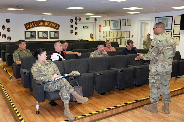 VICENZA, Italy – Master Sgt. Kevin Watts, noncommissioned officer in charge, Retirement Services Office, 99th Regional Support Command, right, speaks during the 7th Mission Support Command hosted bi-annual 99th RSC RSO preretirement brief, Aug. 20, 2016