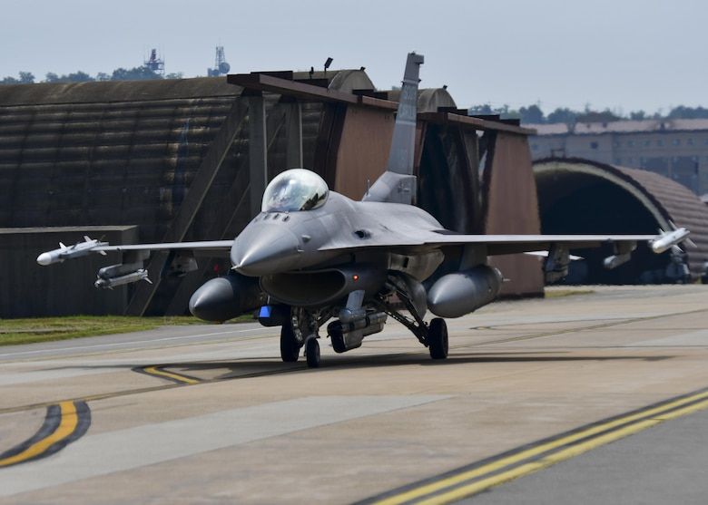 An F-16 Fighting Falcon, assigned to the South Carolina Air National Guard 169th Fighter Wing, taxis to the runway before a sortie flown in support of Exercise Beverly Herd 16-2 at Osan Air Base, Republic of Korea, Aug. 24, 2016. The Guardsmen, deployed here as part of a theater security package, work side-by-side with the 51st Fighter Wing during such exercises. (U.S. Air Force photo by Senior Airman Victor J. Caputo)