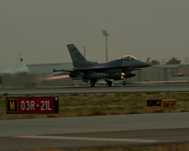 An F-16C Fighting Falcon takes off for mission in the skies of Afghanistan Aug. 22, 2016, Bagram Airfield, Afghanistan. F-16s deployed to Bagram Airfield provide over watch and close air support to U.S. and coalition forces through the Afghanistan area of operation. (U.S. Air Force photo by Capt. Korey Fratini)