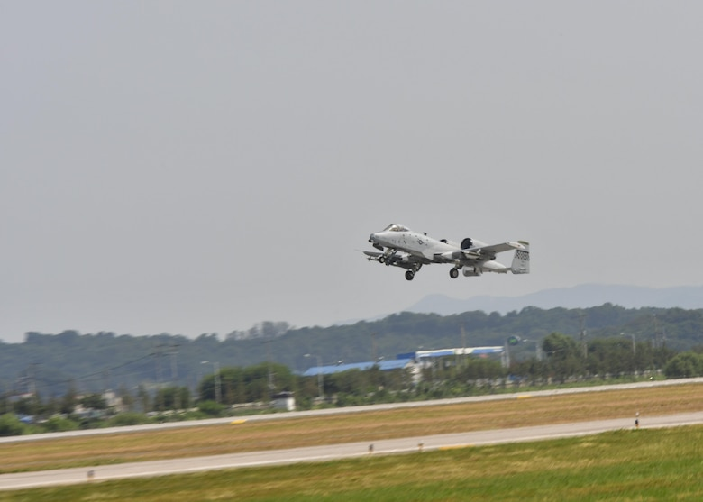 An A-10 Thunderbolt II, assigned to the 25th Fighter Squadron, takes off for a sortie in support of Exercise Beverly Herd 16-2 at Osan Air Base, Republic of Korea, Aug. 24, 2016. Beverly Herd provides an opportunity for Team Osan to practice wartime procedures in a realistic environment. (U.S. Air Force photo by Senior Airman Victor J. Caputo)