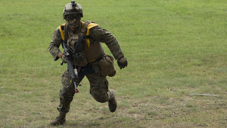 A Marine with 4th Assault Amphibian Battalion, 4th Marine Division, Marine Forces Reserve, practices his maneuver under fire during Exercise Northern Strike 2016 at Camp Grayling Joint Maneuver Training Center, Mich., Aug. 17, 2016. The exercise also included infantry training techniques and military operations in urban terrain.  Exercise Northern Strike Northern Strike 16 is a National Guard Bureau-sponsored exercise uniting approximately 5,000 Army, Air Force, Marine, and Special Forces service members from 20 states and three coalition countries. The exercise strives to provide accessible, readiness-building opportunities for military units from all service branches to achieve and sustain proficiency in conducting mission command, air, sea, and ground maneuver integration, and the synchronization of fires in a joint, multinational, decisive action environment.