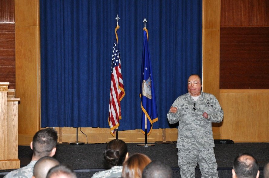 MSgt. Israel Del Toro, the first 100 percent-disabled Airman to reenlist in the Air Force, speaks to attendees at 340 Flying Training Wing's 2016 Enlisted Development Summit at Joint Bases San Antonio-Lackland and Randolph, Texas Aug. 4 to 6. Del Toro, a tactical air control party member was severely injured by an improvised explosive device while serving in Afghanistan. He was burned over more than 80 percent of his body, spent three months in a coma and was given less than a 20 percent chance of survival. Del Toro delivered an inspiring and memorable speech that emphasized service before self and teamwork. (U.S. Air Force Photo/CMSgt. Jimmie Morris)