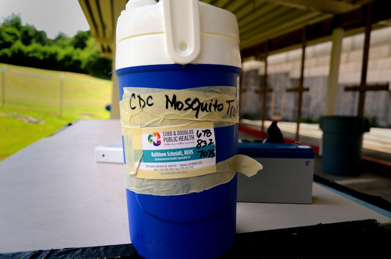 A mosquito trap sits on a table at the firing range before being set up Dobbins Air Reserve Base, Ga., on June 23, 2017. The Georgia Department of Public Health came to Dobbins to set up mosquito traps following a Department of Defense initiative to combat the Zika virus. (U.S. Air Force photo by Staff Sgt. Daniel Phelps)