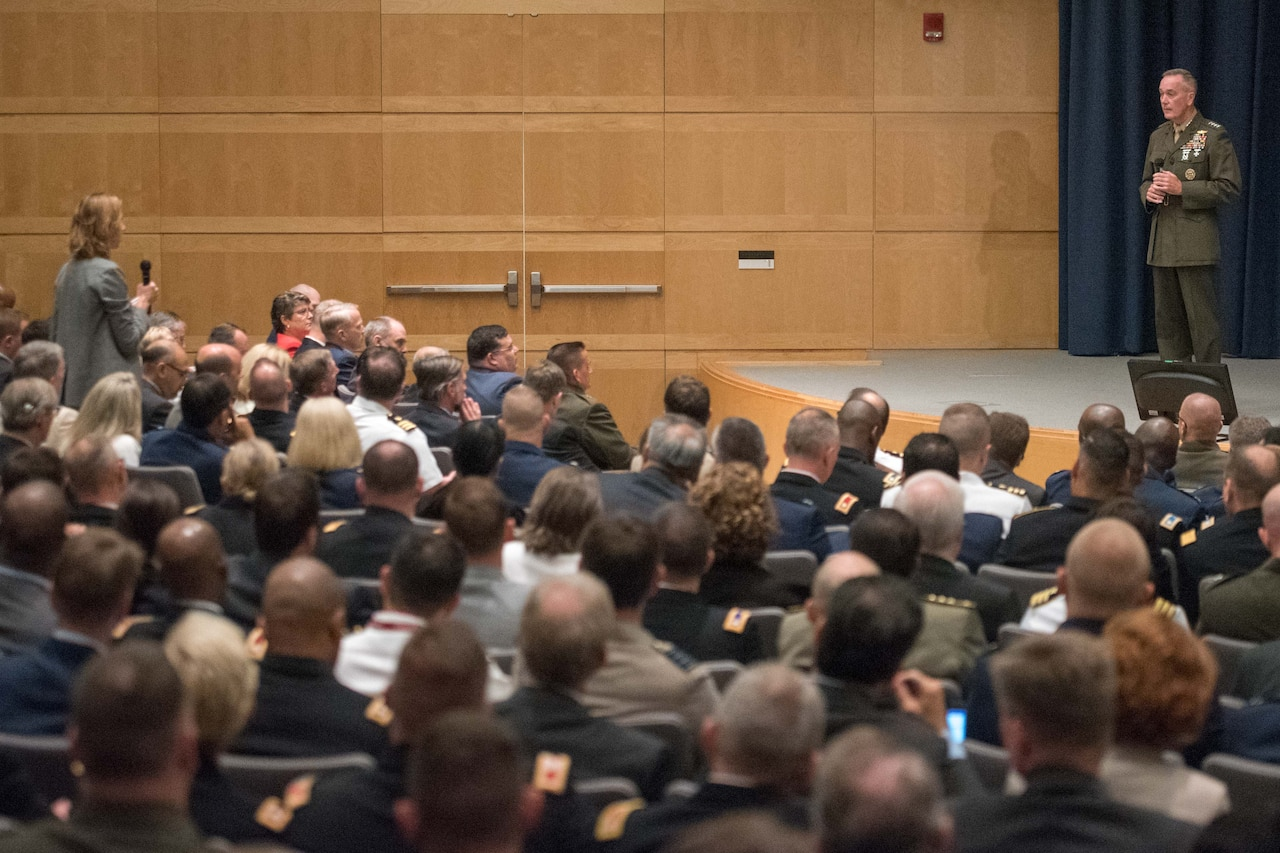 Marine Corps Gen. Joe Dunford, chairman of the Joint Chiefs of Staff, takes questions from National Defense University students at Fort Lesley J. McNair, Washington, D.C., Aug. 23, 2016. The general shared his experiences with the students, and discussed what he got out of his Army War College experience. DoD photo by Navy Petty Officer 2nd Class Dominique A. Pineiro