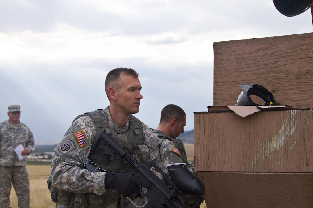 Sgt. 1st Class Robert D. Jones, U.S. Army Reserve Best Warrior Competition noncommissioned officer runner-up, provides security during training at Fort Harrison, Mont., August 5, 2016. The USAR BWC winners from the NCO and Soldier category are going through rigorous training, leading up to their appearance at Fort A.P. Hill later this year for the Department of Army BWC. (U.S. Army Reserve photo by  Brian Godette, USARC Public Affairs)(U.S. Army Reserve photo by  Brian Godette, USARC Public Affairs)