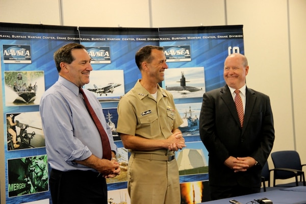 U.S. Senator Joe Donnelly (D-IN), Chief of Naval Operations (CNO) Adm. John Richardson and Congressman Larry Bucshon (IN-8th District) held a press conference on Aug. 23 at Naval Surface Warfare Center (NSWC) Crane Division.