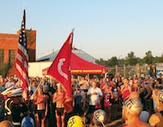 Quantico Tri and 12K athletes participate in opening ceremonies aboard Quantico on race day, Aug. 20.