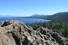 The view from the top of Eagle Rock at Lake Tahoe, California, shown Aug. 18, 2014. The trail leading up to this historical spot was rebuilt as part of a California Tahoe Conservancy and U.S. Army Corps of Engineers ecosystem restoration project at Blackwood Creek. Steep terrain, heavy erosion and overuse had made the old trail dangerous for hikers and an expressway for dirt and debris to enter the creek and make its way to Lake Tahoe. The Corps has been working on ecosystem restoration projects with several agencies in the Lake Tahoe Basin since 2005.