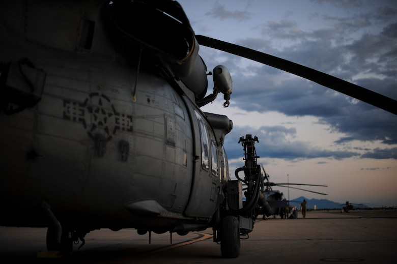 An HH-60G Pave Hawk sits on the flight line at Davis-Monthan Air Force Base, Ariz., Aug. 23, 2016. The primary mission of the HH-60 is to conduct around the clock personnel recovery operations in hostile environments. (U.S. Air Force photo by Airman Nathan H. Barbour)